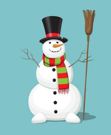 Christmas snowman with the top-hat, carrot, broom, scarf. Smiling cute cartoon character isolated on blue background. illustration