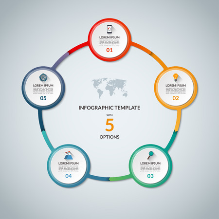circular: Infographic circle with 5 options Illustration