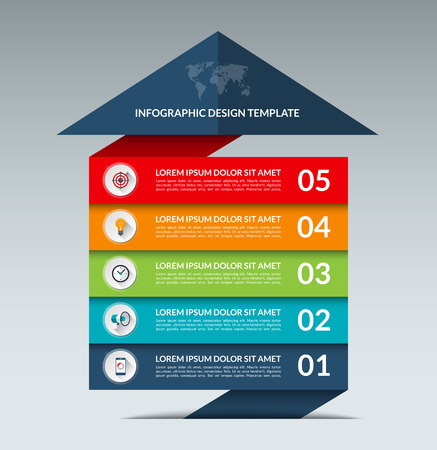 Infographic 화살표 디자인 템플릿입니다. 5 옵션, 부품, 단계 비즈니스 성장 개념 배너. 웹, 다이어그램, 그래프, 차트, 보고서, 단계별 infographics에 사용할  일러스트