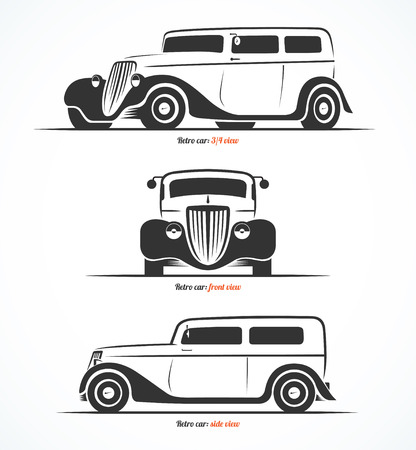 oldtimer: Set of retro car silhouettes. Vintage or classic car illustrations. Front, side and 34 view. Vector background