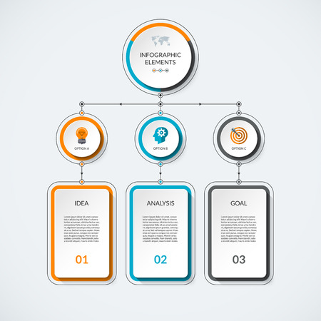 Infographic template with 3 option circles and columns. Modern minimalistic vector banner what can be used as chart, diagram, graph, table, workflow layout for web, report, business presentation