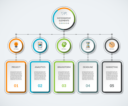 Infographic template with 5 option circles and columns. Modern minimalistic vector banner what can be used as chart, diagram, graph, table, workflow layout for web, report, business presentation 矢量图像
