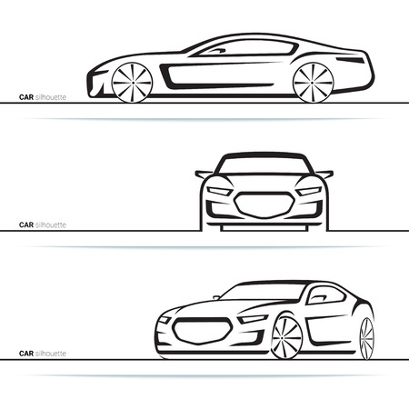 view abstract: Vector car silhouettes set. Front, three-quarter and side view. Abstract hand-drawn modern vehicle isolated on white background