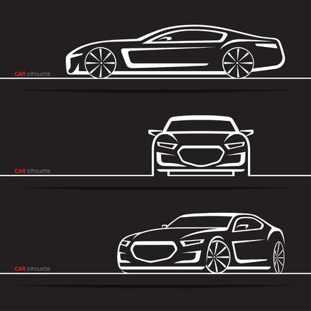 Vector Car Silhouettes Set Modern Luxury Sedan Front Three