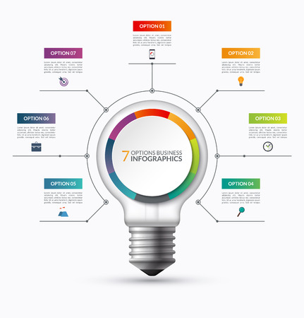 project plan: Lightbulb infographic template with 7 options. Creative business startup concept. Can be used as circular chart, cycle diagram, graph, workflow layout for report, web, presentation. Vector background