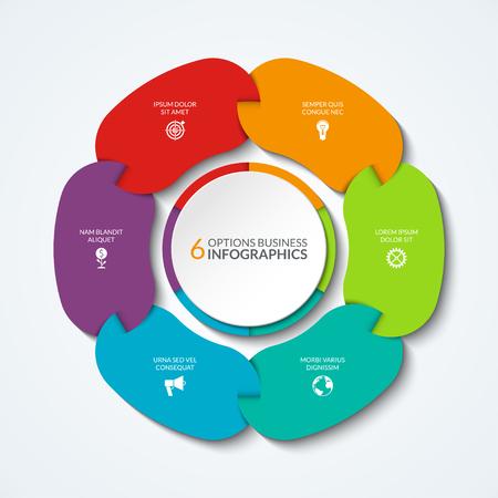 Infografisches Kreisdiagramm. Vektor-Kreis-Vorlage, die für Grafik, Diagramm, Diagramm, Schritt Optionen verwendet werden kann. Business-Konzept von 6 verbundenen Teilen, Segmente. Vektorgrafik