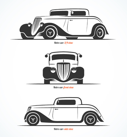 Set of hot rod or vintage custom sports car silhouettes. Vector illustration Çizim