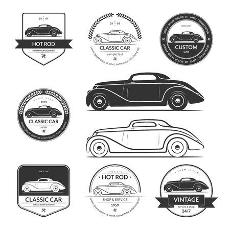 Set van hot rod auto labels, emblemen, logo's Stock Illustratie
