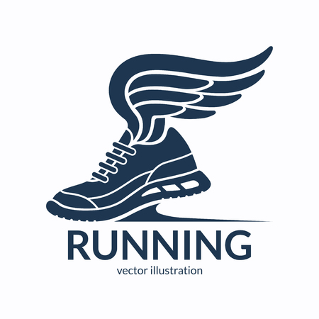 Speeding running shoe symbol, icon, logo. Sneaker silhouette with wings. Vector illustration