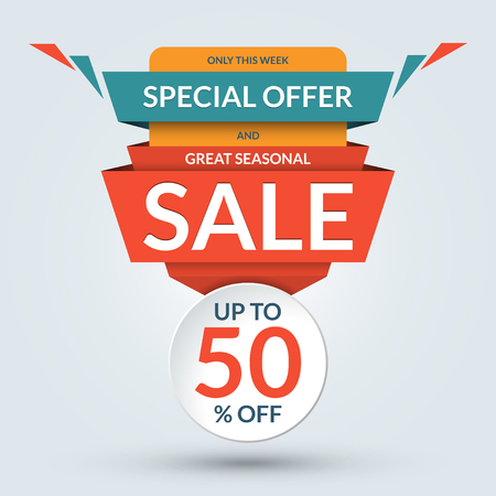 sale sticker: Seasonal sale and special offer banner