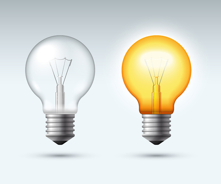 Light bulb. Switched on and off. Vector illustration Imagens - 77263591
