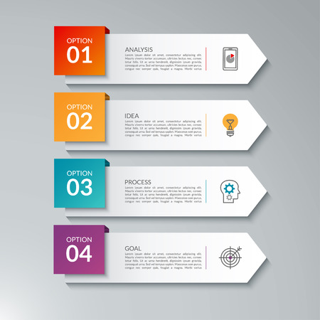 Infographic arrows. Vector design template with 4 options. Can be used for workflow layout, diagram, chart, graph, report