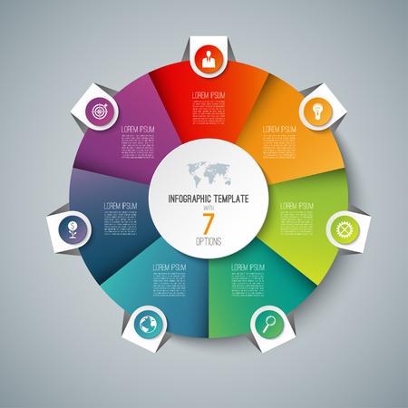 7 オプションを持つインフォ グラフィック円グラフ円テンプレート。サイクル図、グラフ、web バナー、ワークフローのレイアウトとして使用できま