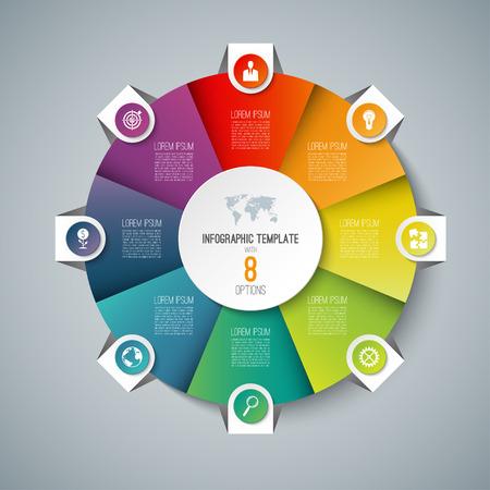Modèle de cercle d'infographie camembert avec 8 options. Peut être utilisé comme diagramme de cycle, graphique, bannière Web, disposition du flux de travail Vecteurs