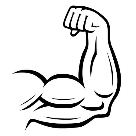Fuerte icono de vector de brazo. Concepto del deporte, de la aptitud, del bodybuilding