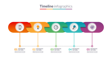 time table: Timeline infographic template of rounded elements.