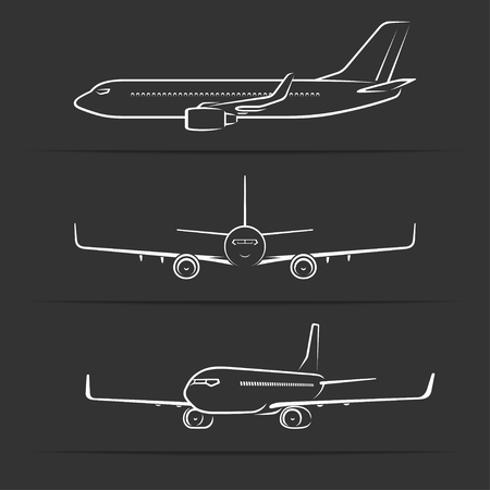 jet airplane: Passenger jet aircraft silhouettes, contours, outlines. Side, front, perspective view of modern airplane in flight.