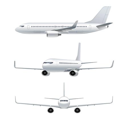 비행 비행기, 제트 항공기, 여객기. 전면, 측면, 흰색 배경에 고립 된 자세한 여객 항공기의 3d 전망보기. 벡터 일러스트 레이 션