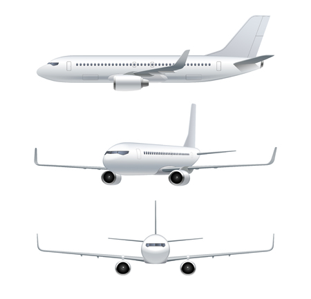 Flying airplane, jet aircraft, airliner. Front, side, 3d perspective view of detailed passenger air plane isolated on white background. Vector illustration