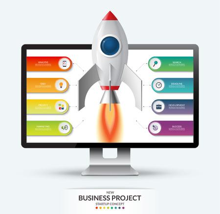 新しいビジネス プロジェクトのスタートアップ概念。コンピューターのモニターからのロケット打ち上げ。8 オプション、手順、部品のインフォ グ