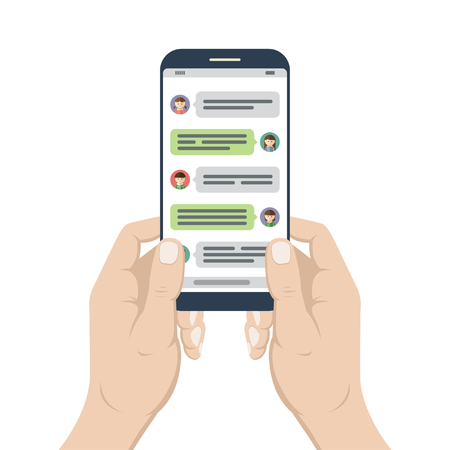 Chat y mensajería. Smartphone en manos con la ventana abierta de la aplicación del mensajero. Notificaciones de mensajes de chat de teléfonos móviles. Red social, concepto de conversación en línea. Ilustración del vector
