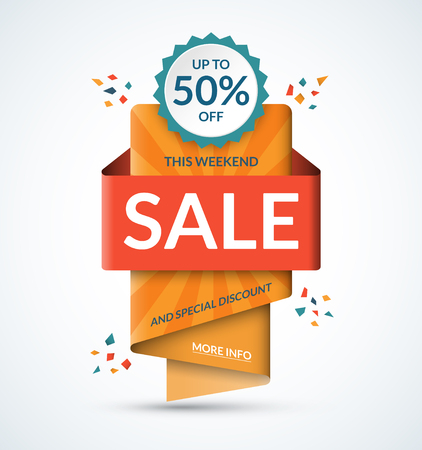 bargains: Sale banner. Special discount concept. Half price colorful sticker. Summer sale tag. Shopping background