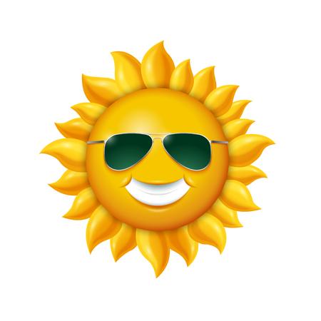 glassy: Smiling summer sun in sunglasses. Vector illustration isolated on white background Illustration