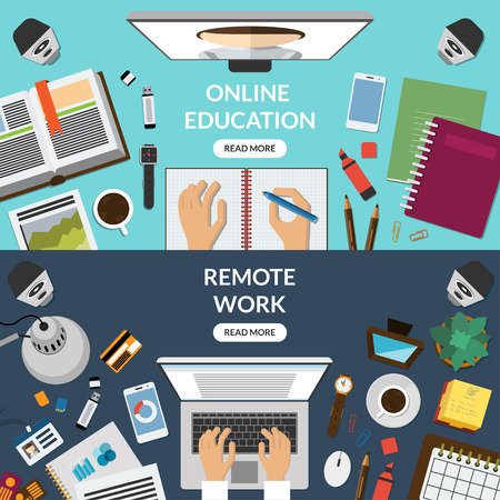 distant: Online education, distant learning, freelance, remote work concept. Top view at a desktop. Illustration