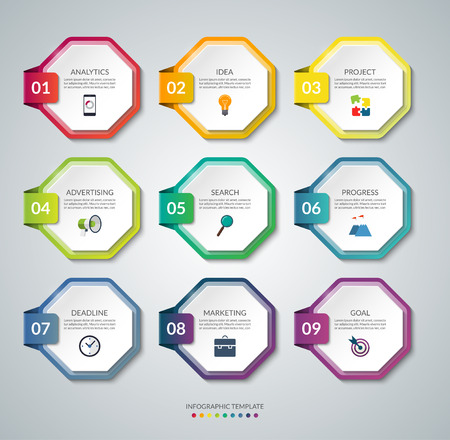 Set of 9 octagon elements for infographics. Colorful vector banners.
