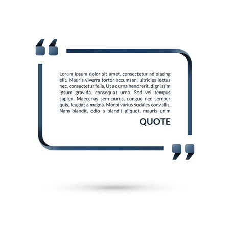 Quote box. Speech bubble. Blank frame for citations. Text in brackets. Vector illustration Zdjęcie Seryjne - 82821280