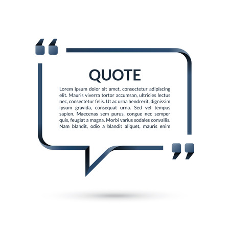 Quote box. Speech bubble. Blank frame for citations. Text in brackets. Vector illustration Zdjęcie Seryjne - 82821283