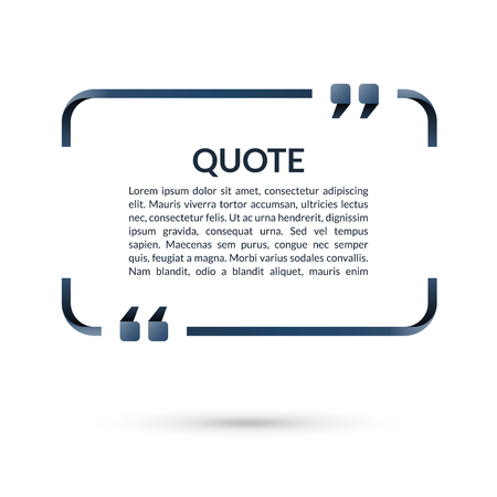 Quote box. Speech bubble. Blank frame for citations. Text in brackets. Vector illustration Zdjęcie Seryjne - 82821285