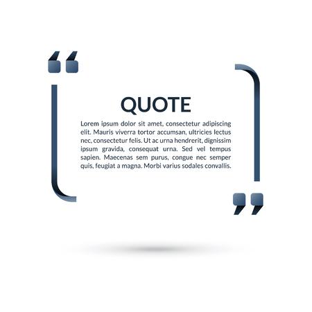 Quote box. Spraak bubbel. Blanco frame voor citaties. Tekst tussen haakjes. Vector illustratie Stock Illustratie