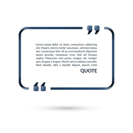 Quote box. Speech bubble. Blank frame for citations. Text in brackets. Vector illustration Zdjęcie Seryjne - 82821288