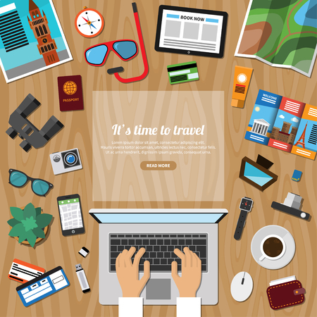 Travel, tourism, summer vacation planning, discover the world, journey in holidays concept in flat style. Top view at a desktop. Vector illustration Çizim