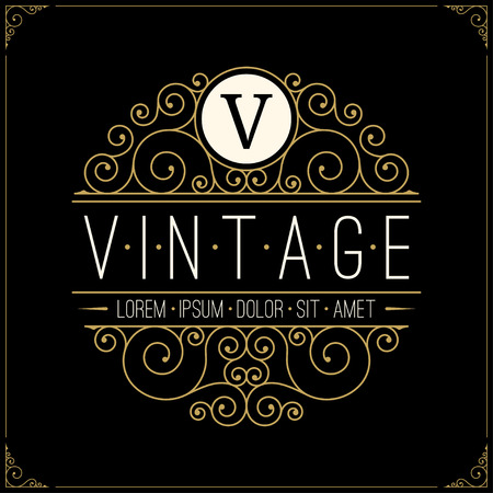 Vintage luxury logo. Line art retro logotype Illustration