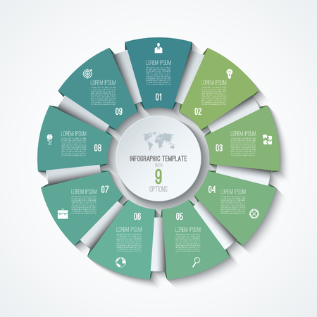 Circle infographic template. Process wheel. Vector pie chart. Business concept with 9 options, parts, steps. Can be used for diagram, graph, chart, step by step infographics, web design