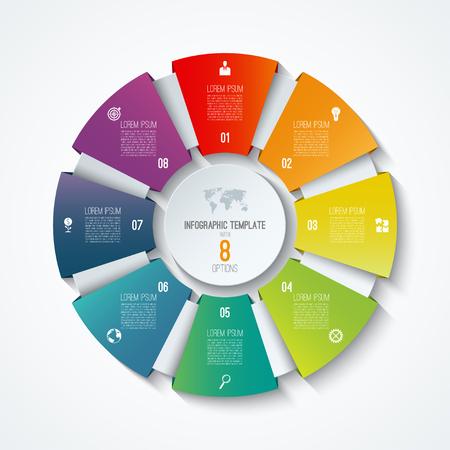 Plantilla infográfica de círculo. Rueda de proceso. Vector gráfico circular. Concepto de negocio con 8 opciones