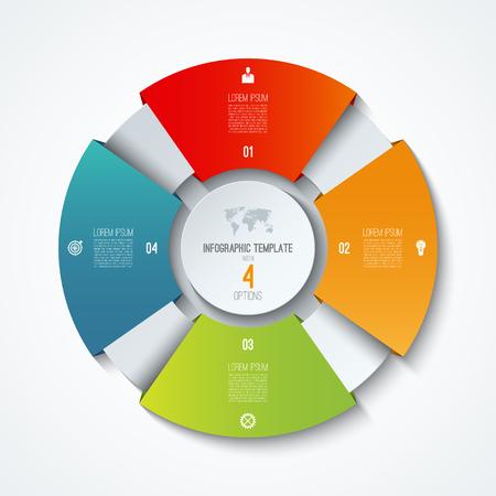 서클 infographic 템플릿. 프로세스 휠. 벡터 원형 차트입니다. 4 가지 옵션이있는 비즈니스 개념