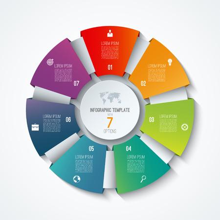 서클 infographic 템플릿. 프로세스 휠. 벡터 원형 차트입니다. 7 가지 옵션이있는 비즈니스 개념