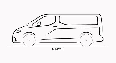 Vector car silhouette. Side view of van