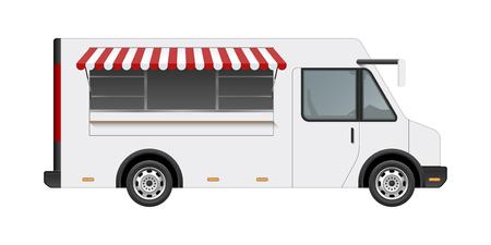 白い食品トラック ベクトル テンプレート モックアップ。白い背景に分離された現実的なモダンな配信サービス車両の側面図です。ブランディング
