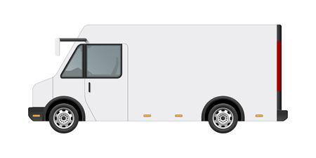 De witte vectormonster van de voedselvrachtwagen op malplaatje. Zijaanzicht van het realistische moderne die voertuig van de leveringsdienst op witte achtergrond wordt geïsoleerd. Kan worden gebruikt voor branding, plaatsing van logo's, advertenties
