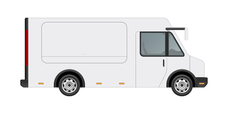White food truck vector mock up template. Side view of realistic modern delivery service vehicle isolated on white background. Vectores