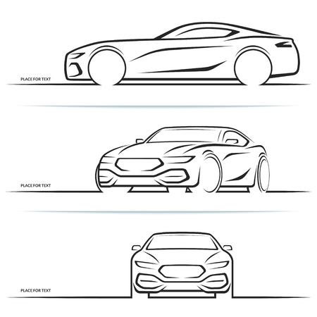 Vector sportwagen silhouetten