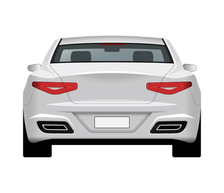 Modern generic car. Rear view