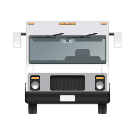 White food truck vector mock up template. Front view 矢量图像
