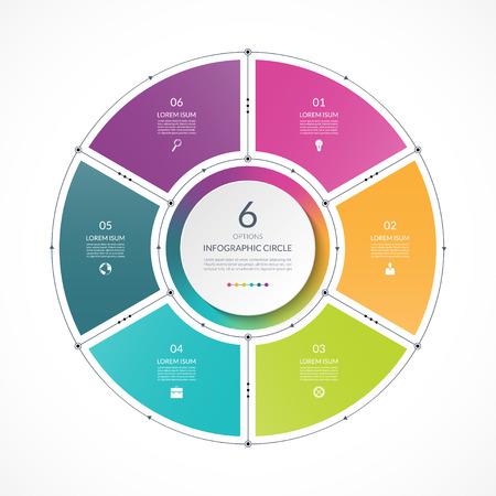 Círculo de infografía en el estilo de línea delgada plana. Plantilla de presentación de negocios con 6 opciones, partes, pasos. Puede ser utilizado para el diagrama de ciclo, gráfico, tabla redonda. Ilustración de vector