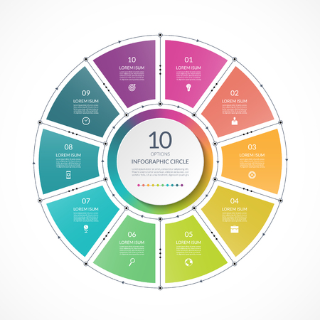 Infographic circle in thin line flat style. Business presentation template with 10 options, parts, steps. Can be used for cycle diagram, graph, round chart. Illustration