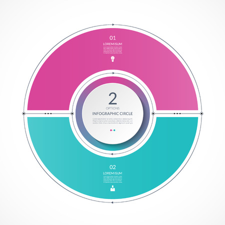 Infographic circle in thin line flat style. Business presentation template with 2 options, parts, steps. Can be used for cycle diagram, graph, round chart.
